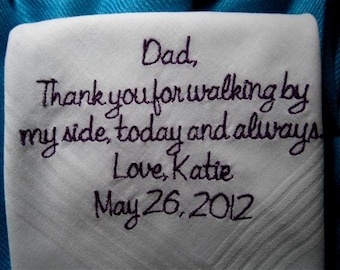 PERSONALIZED, Father/Father in law  of the Bride Gift Ideas, Gifting Envelop, embroidered Heirloom Quality Hanky, embellished or simple