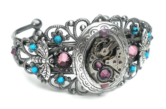 Steampunk Locket Cuff Bracelet