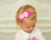 Hot Pink & Pink Layere Bow Headband - Chiffon Bow  Headband - Newborn Headband to Adult Headband