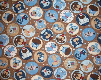An Adorable Love Dogs In Circles Tossed Cotton Fabric BTY Free US Shipping
