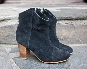 black suede Road House ankle boots - handmade
