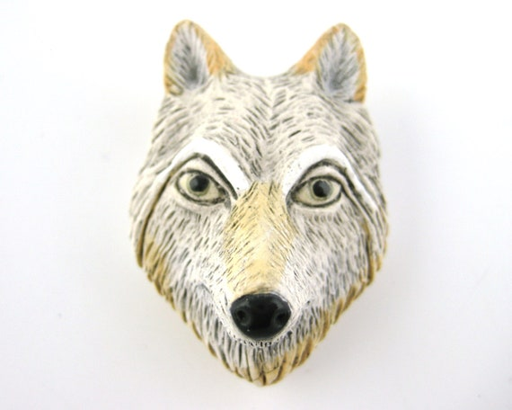 White Wolf Beads - Wolf Pendants Clay Beads Grey Wolf Charms 4pcs