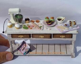 Mini baking table with mini mixer, shabby kitchen, 3 time treasury item