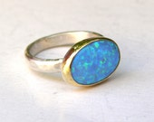Engagement Ring ,Cocktail, Handmade statement ring - Blue opal Gemstone silver ring  - Recycled gold ring - Made to order