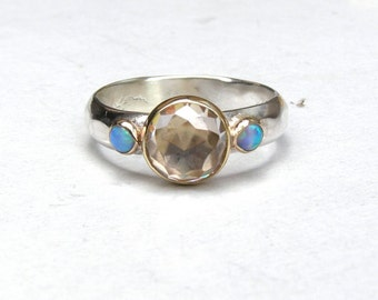 Engagement Ring, Similar diamond wedding ring, Anniversarry ring,Opal Silver ring ,whiteTopaz  and tiny Blue Opals ring, -MADE TO ORDER