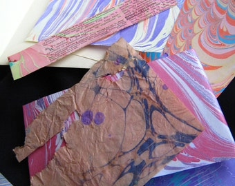 """Marbled Scrap Paper - """"Tiny Surprises Muted"""" Paper Scraps Ebru Collage Pack Pieces Small Marbling Scraps"""