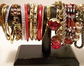 Vintage Lot of 18 Bracelets Bangles, Gold Chain, Toy Charm Red Faux Pearl 1114