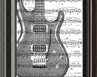 Dictionary Art Vintage Electric Guitar Recycled book print illustration sheet music instrument for him her musician under 25 gifts for dad