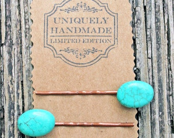 TURQUOISE BOBBY PIN hair clip stone blue barrette copper bronze for her accessory western metal boho teal birthday wedding party favor gift