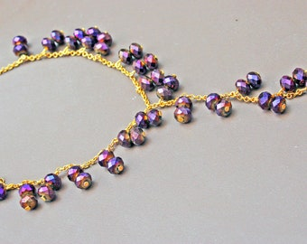Crystal Necklace gold plated chain metal birthday for her tassel sparkle beaded beadwork strand lariat pink purple magenta violet amethyst