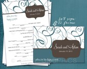 Bold Swirls. Funny Advice & Well Wishes for the Happy Couple MAD LIB Style. Printable Cards any Colors. By Tipsy Graphics