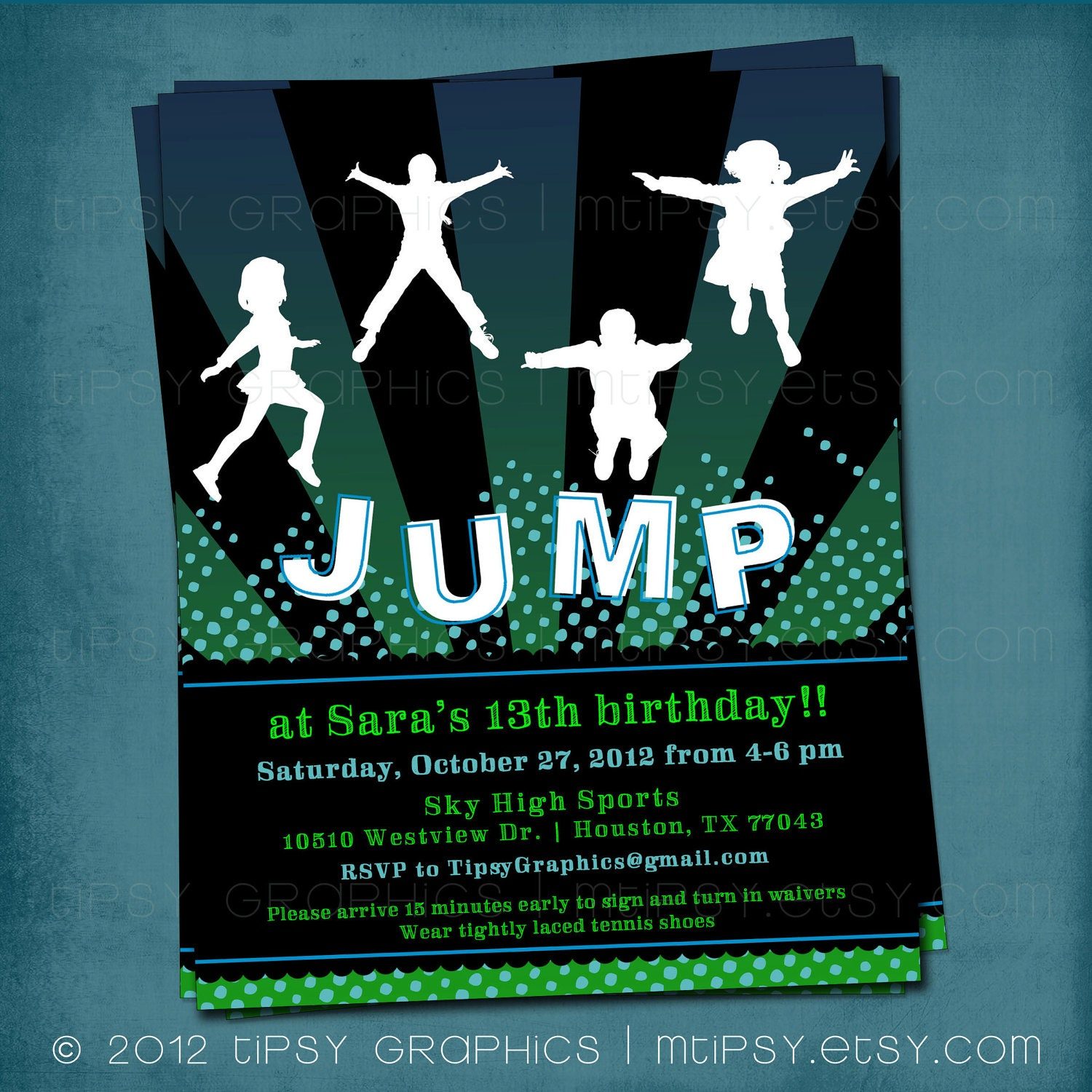 Trampoline Party Invitations: Girly JUMP Trampoline Or Bounce House Birthday Party Invite By