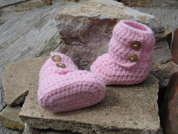 Free Crochet Pattern Baby Ugg Booties : Handmade Crochet Baby Booties Pink Uggs Free Shipping