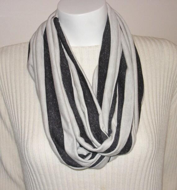 Knit Infinity Scarf GRAY striped