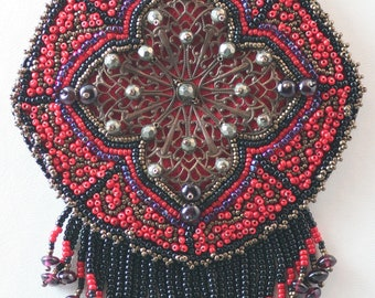 Deepest Desire - Red, Black & Bronze Filigree Necklace