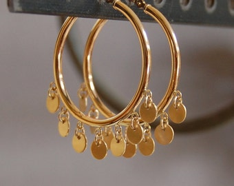 SALE, Solid 10K Gold 30mm Hoop Earrings with 4.75mm Discs