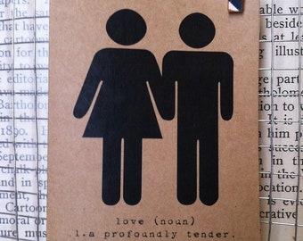 definition of love. card. kraft. black. holding hands. blank card. stick figures. wedding. bridal shower. bride. groom.