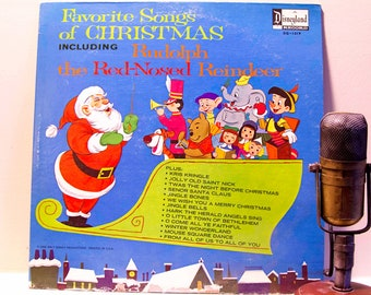 "ON SALE Christmas Vinyl Record Album 1960s Walt Disney Louis Prima guests,Christmas Holiday LP, ""Favorite Christmas Songs""(Original 1968 Dis"