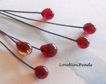 Red Berry Headpins - Floral Design - Christmas Red Glass - Set of 6 - Lampwork Glass