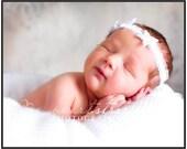 White Halo Headband of Ruffled Stretch Elastic for Newborn Baby Girl or Photo Prop