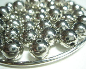 SILVER Basketball Wives Inspired round beads/spacers (8 mm) - 50 pieces