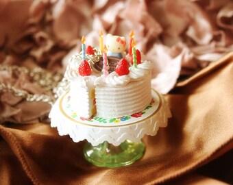 Strawberry shortcake birthday cake necklace