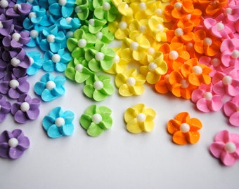 Royal Icing Flowers-  Pastel Rainbow Mix w/ White Sugar Pearl (60)