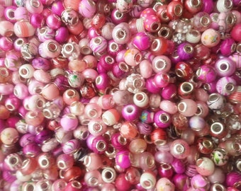 20 Beads PINK  Range of Mixed Large Hole  Beads fit European Jewelry -