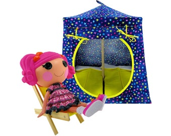 Toy Pop Up Tent, Sleeping Bags, royal blue, colored star print fabric