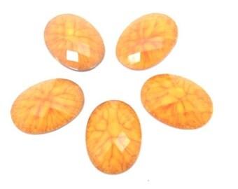 6 pcs. acrylic Orange - Yellow cabochons , oval , 18X25mm
