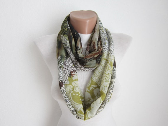 infinity scarf Loop scarf Neckwarmer Necklace scarf  Chiffon scarf   White  Green  Brown