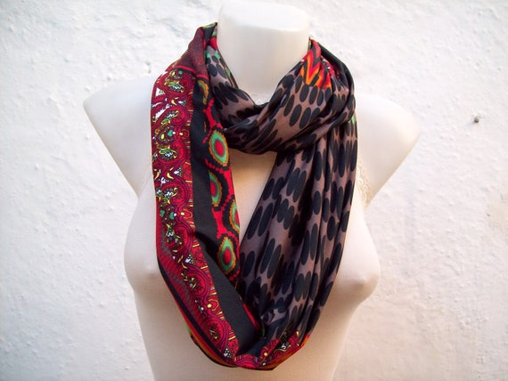 Infinity scarf Loop scarf Neckwarmer Necklace scarf Fabric Jersey  scarf Black Red Green Brown