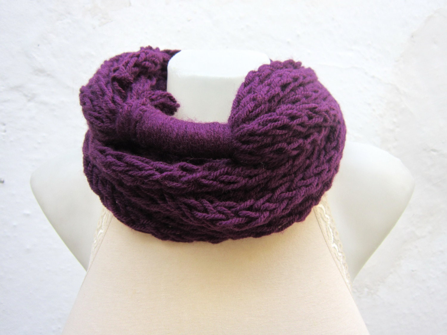infinity scarf finger knitting scarf purple by scarfnurlu