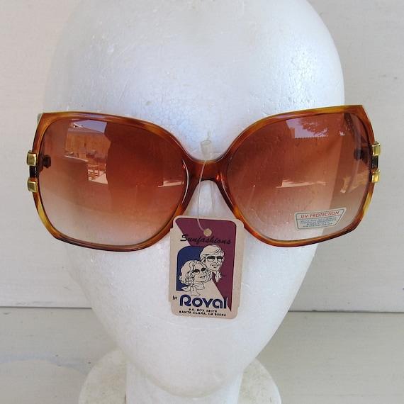 80s vintage oversize brown tortoiseshell frame sunglasses - new old stock