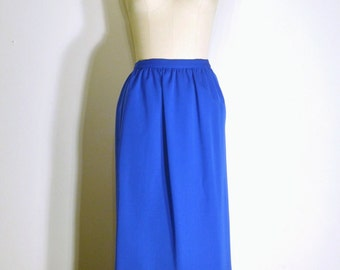 Vintage 1970s Skirt- 70s Pencil Skirt- Bright Blue