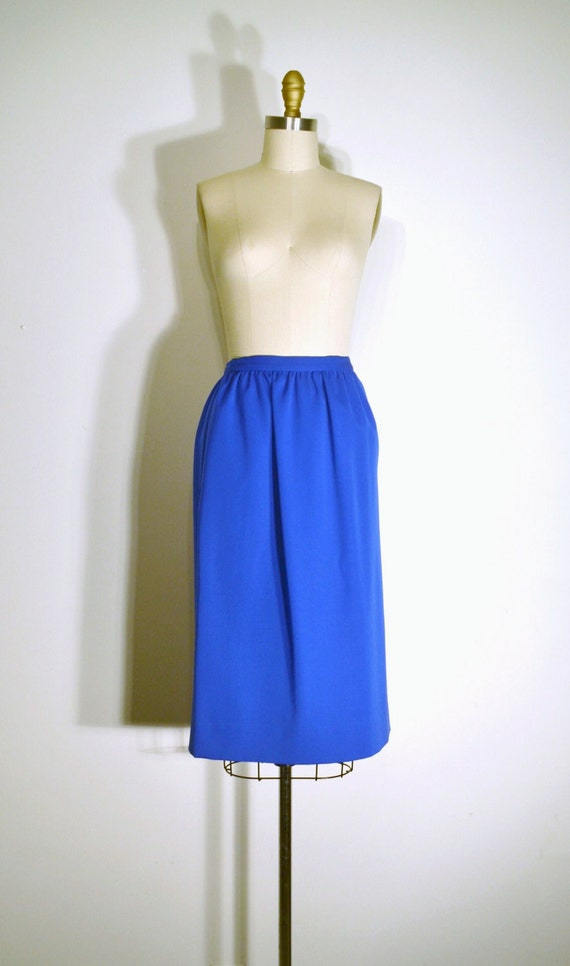 vintage 1970s skirt 70s pencil skirt bright blue