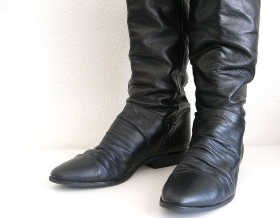 Christmas in July SALE:Vintage Black Leather Slouchy Pirate Style Boots Flat No Heels CIJ SALE