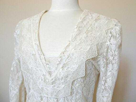 Long-Sleeve Wedding Dress, Vintage Lace Boho Chic Wedding Gown - Layered Ivory Off White Lace, Edwardian / 1920's Style