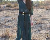 Vintage Dress 80s Sheer Romantic BOHO Lace EMERALD Dress S M L