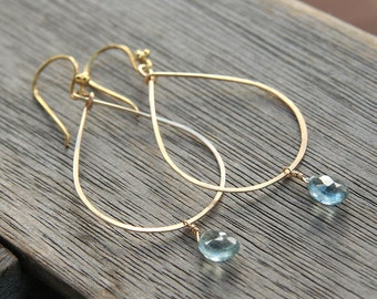 Teardrop Gold Hoop Earrings with Moss Aquamarine Drop