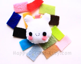 Bunny Keychain - Your Choice Color, Animal Keychain, Party Favors, Felt Animal, Key Ring, Cell Phone Charm, Dust Plug, Stocking Stuffer