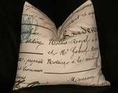 """French Script Decorative Pillow 18x18 Throw Pillow Cover 18"""" Spa BLUE, brown on Natural ONE"""