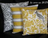 "Pillows Decorative Pillows TRIO suzani, lulu stripe, barber bird 18x18 inch Throw Pillow Covers gray 18"" storm grey, corn yellow, white"