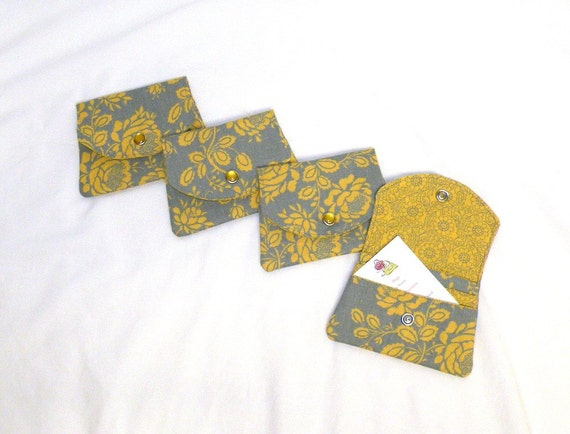 Wallet/Gift Card Holder/Business Card Holder in rose floral print in yellow and grey