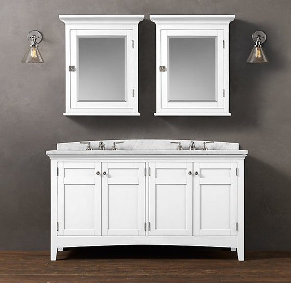 Double sink vanity with option of medicine cabinets for Bathroom vanities mokena il