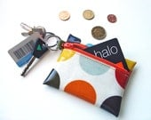 Coin Purse / earbud pouch / ID wallet in orange red dotty Oilcloth by dotty spots