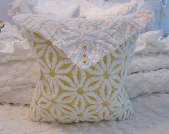Yellow Chenille Pillow -w- Envelope Top - Chenille Bedspread - Shabby Chic
