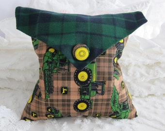 Awesome John Deere Envelope Pillow -w- Flannel Flap -