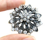 5 Rhinestone Brooch Component Vintage Style - Wedding Hair Accessories, Shoe Clip, Gift Box, Ring Pillow, Hat BRO-004 (40mm or 1.6inch)