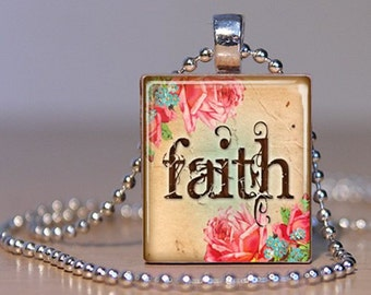 FAITH - with vintage rose art -  Pendant on an Upcycled Scrabble Tile (179)
